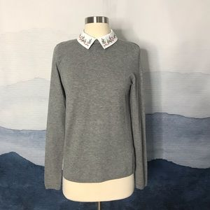 Forever 21 Peter Pan Embroidered Collar Sweater